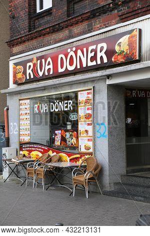Gelsenkirchen, Germany - September 17, 2020: People Visit Doner Kebab Fast Food In Gelsenkirchen, Ge