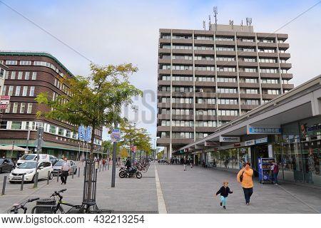 Gelsenkirchen, Germany - September 17, 2020: People Visit Downtown City Street In Gelsenkirchen, Ger