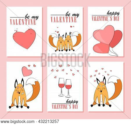 Festive Set Of Greeting Cards For Valentine's Day. Holiday Posters With Foxes In Love, Pink Hearts,