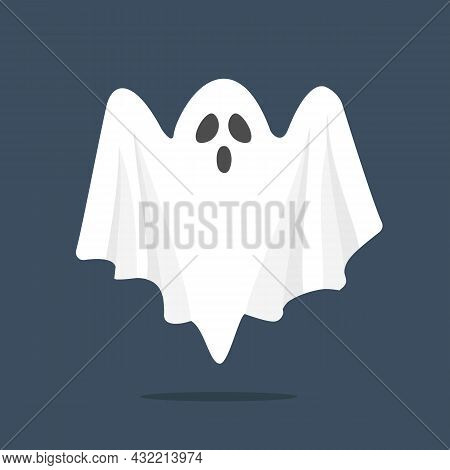 Cartoon Ghost Isolated. Halloween Scary Ghostly. Halloween Concept. Vector Stock