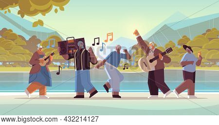 Mix Race Senior People With Bass Clipping Blaster Recorder Dancing And Singing Grandparents Having F