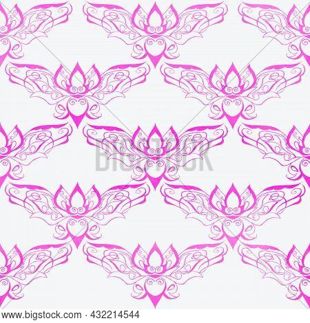 The Pattern, The Silhouette Of A Bat, Looks Like A Lotus Flower Floating, The Background, The Postca