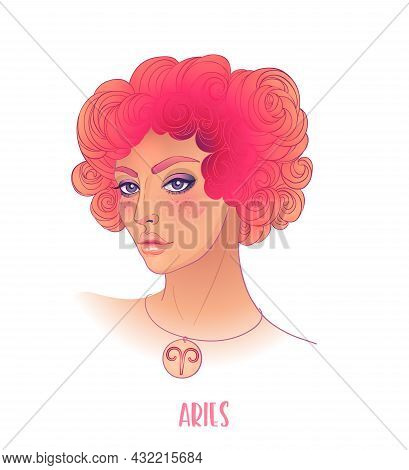 Illustration Of Leo Astrological Sign As A Beautiful Girl. Zodiac Vector Illustration Isolated On Wh