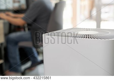 Closeup Of Air Purifier In The Room Is Very Safe And Clean To Breathe With Filter Dust Pm 2.5 And A