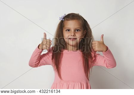 Beautiful Girl Showing Thumbs Up, White Background