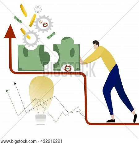 Business Idea, A Mechanism For Promoting A Financial Project, A Puzzle Is Formed Into A Dollar, A Pe