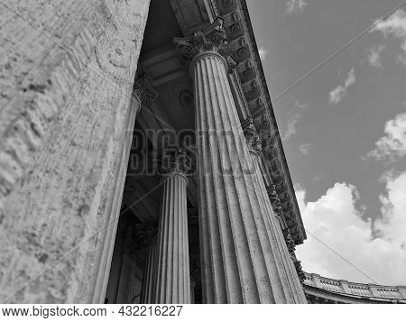 Stone Columns In St. Petersburg. Massive Stone Columns.