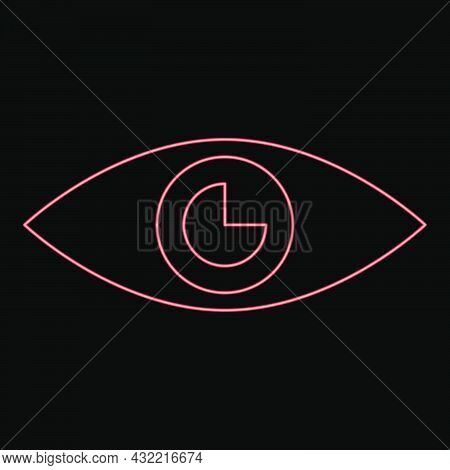 Neon Eye Red Color Vector Illustration Flat Style Light Image