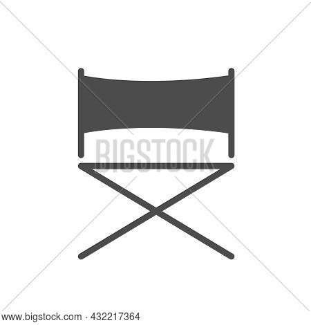 Director Chair Silhouette Vector Icon Isolated On White Background. Director Chair Icon For Web, Mob
