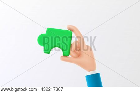 Cartoon Hand Holds A Piece Of Connecting Jigsaw Puzzle. Symbol Of Teamwork, Cooperation Or Partnersh