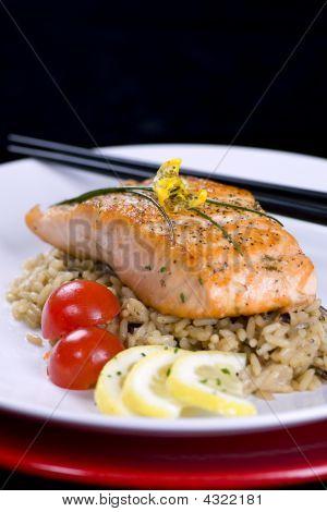 Salmon On Wild Rice