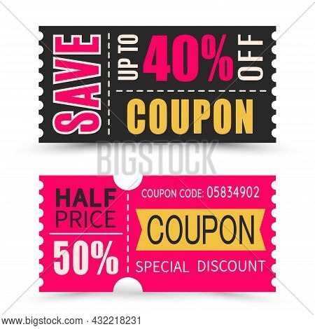 Set Of Discount Coupons In Different Shapes And Colour. Gift Voucher With Coupon Code.  Sale And Dis