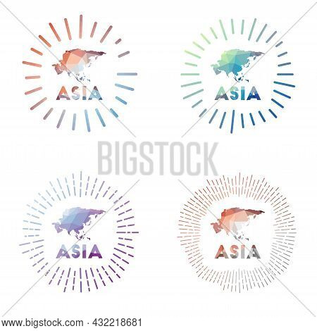 Asia Low Poly Sunburst Set. Logo Of Continent In Geometric Polygonal Style. Vector Illustration.