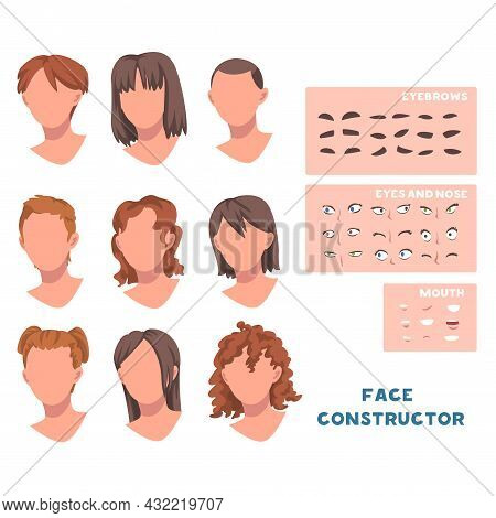 Woman Face Constructor With Head And Spare Parts Like Eyebrow, Eyes And Mouth Vector Set