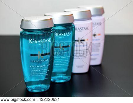 Paris, France - Nov 30, 2019: Presentation Row Of Four New Kerastase Paris Specifique Luxury Shampoo