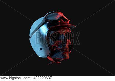 Racer Skull In Vintage Helmet With Goggles. 3d Rendering