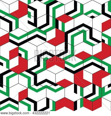 Abstract Geometric Color In Hexagon Pattern. Simple United Arab Emirates Flag Design.