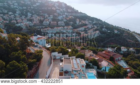 Altea Hills, Spain 18.08.2021 Cityscape On The Coast Of Altea, Alicante Province And Mountains On Th