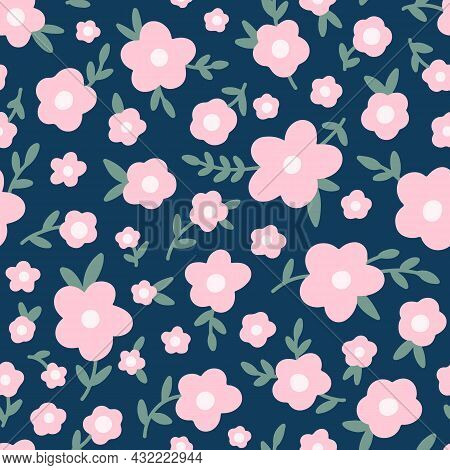 Ditsy Floral Seamless Pattern. Small Pink Meadow Flowers On Navy Blue Background. Vintage Liberty St