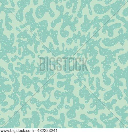 Vermicular Vector Seamless Pattern Background. Historical Style Backdrop In Monochrome Pastel Teal B