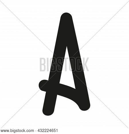 Hand Drawn Letter A. Latin Letter Drawn By Brush. Handwritten Font. Modern Brush Lettering. Template