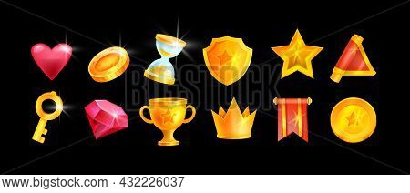 Game Icon Set, Vector Ui Design Element Collection, Golden Shield, Red Flag, Gemstone, Coin, Star. C
