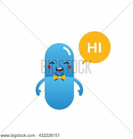 Cute Cartoon Style Happy Blue Pill, Food Supplement Character With Speech Bubble Saying Hi, Hello.