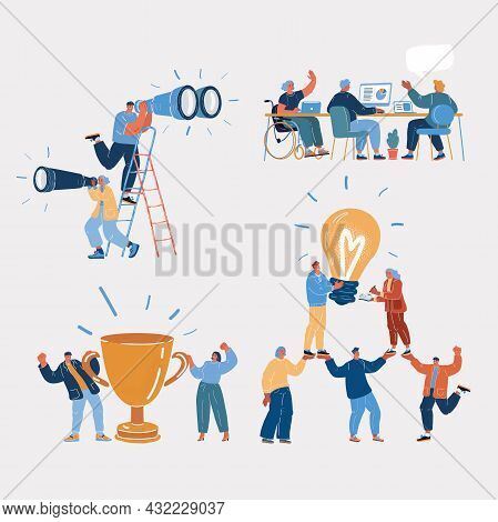 Vector Illustration Of People Characters. Team, Teamwork, Idea, Winner, Research, Investigations, In