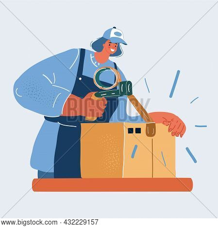Vector Illustration Of Woman, Works Goods Packaging With Boxes At Packing Line Warehouse Preparing G