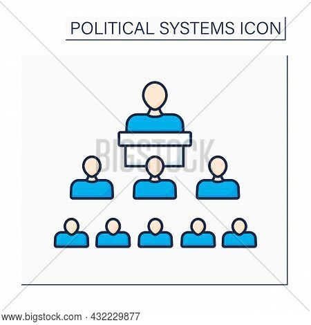 Structure Political Color Icon. Interaction Inside Political Systems And Regulations, Laws And Norms