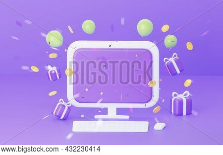 3d Desktop With Empty Screen On Purple Background. The Concept Of Congratulations To The Winner. Wit