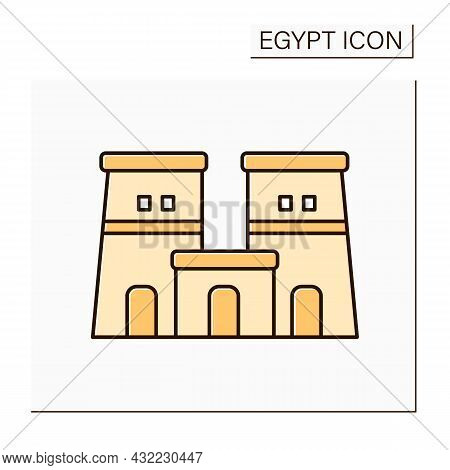 Edfu Temple Color Icon. Dedicated To Horos God. Traditional Religious Temple. Egypt Concept. Isolate