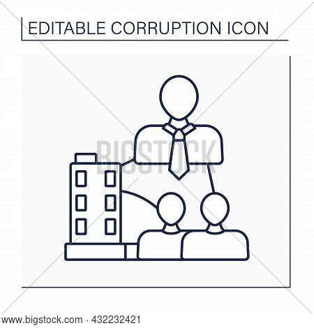 Beneficial Ownership Line Icon. Control A Legal Entity Or Arrangement, Such As Company, Trust, Or Fo