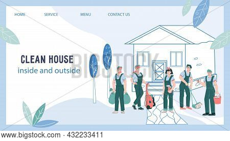 Web Site Banner Of Cleaning Company. Design For Web Page, Banner Or Presentation Of House And Garden