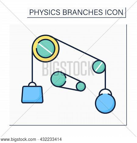 Classical Physics Color Icon. Based On Classical Mechanics. Properties Of Mechanical Systems. Mechan