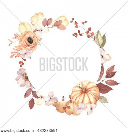 Autumn floral circle frame with pumpkin, flowers, branches and leaves. Watercolor wreath isolated on white background for invitation or greeting cards, delicate autumn illustration for your text.
