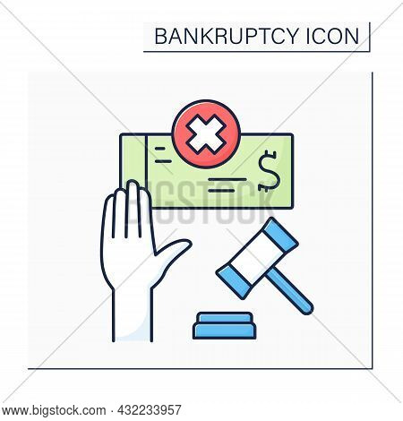 Voluntary Bankruptcy Color Icon. Insolvent Debtor Brings Petition To Court To Declare Bankruptcy. Un