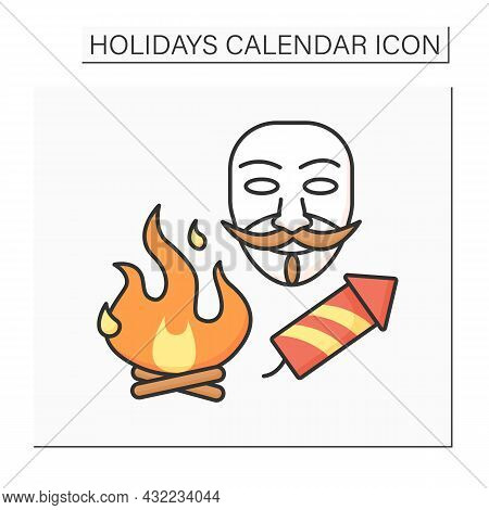 Guy Fawkes Night Color Icon.bonfire Night. Fireworks And Bonfires. Guy Fawkes Dummy Burn. Holidays C