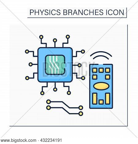Electronics Color Icon. Device To Control Electron Flow By Amplification And Rectification. Transist