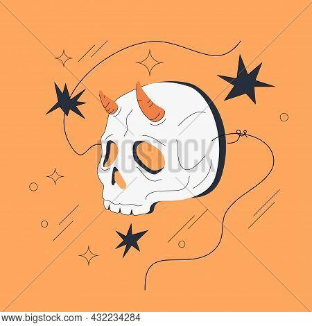 Grim Reaper Mask Vector Illustration Isolated On Orange Background. Halloween Costume. Comic Or Anim
