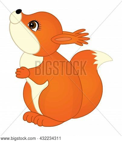 Isolated Cute Little Baby Squirrel Standing. Vector Baby Squirrel. Squirrel Vector Illustration
