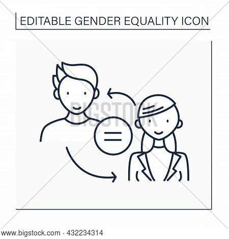 Equality Line Icon. Male And Female Equality. Gender Tolerance. Equal Right In All Spheres. Human Ri
