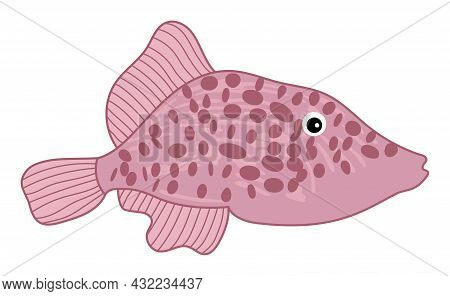 Isolated Cute Tropical Pink Fish With Spots. Vector Cartoon Fish. Fish Vector Illustration