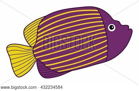 Isolated Cute Tropical Purple Fish With Yellow Stripes. Vector Cartoon Fish. Fish Vector Illustratio
