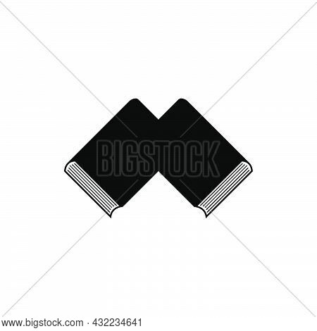 A Pair Of Books Logo Education Symbol, Two Intersecting Books In The Form Of The Letter M In A Minim