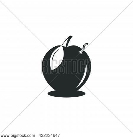 Wormy Apple Logo In Negative Space Style, Worm Climbs Out Of The Apple Funny Humorous Black And Whit