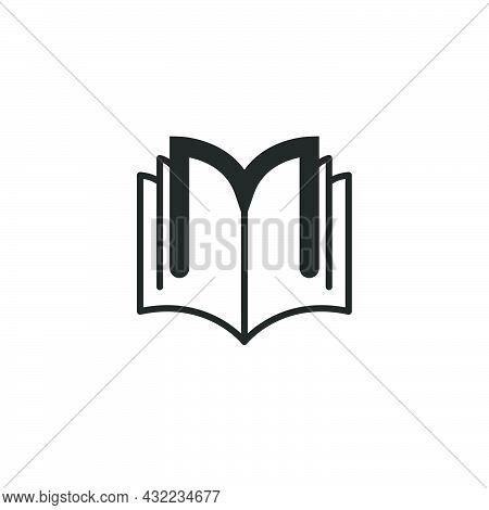 Logo Printing House Or Educational Encyclopedia Open Book With Outline Letters M, Black And White Ma