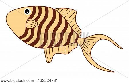 Isolated Cute Tropical Beige Fish With Stripes. Vector Cartoon Fish. Fish Vector Illustration