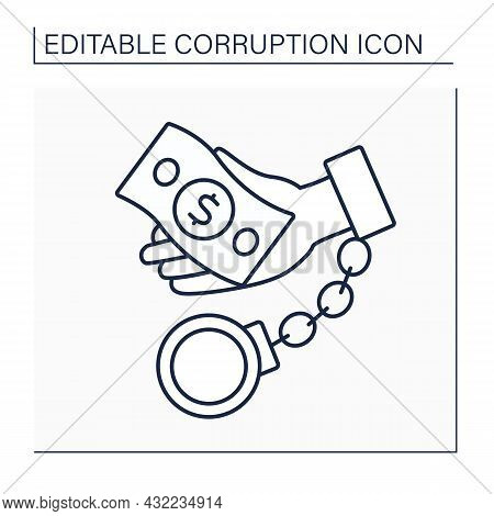 Corruption Line Icon. Illegal, Bad, Dishonest Behavior By Powerful People. Crime Actions. Getting Mo