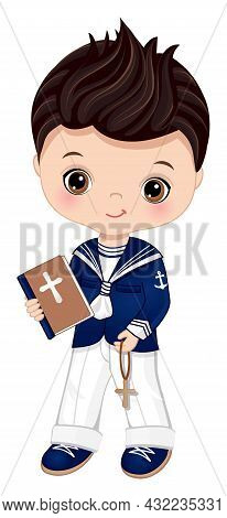First Communion Spanish Sailor. Little Boy First Confirmation. Cute Boy Is Dark-haired With Hazel Ey